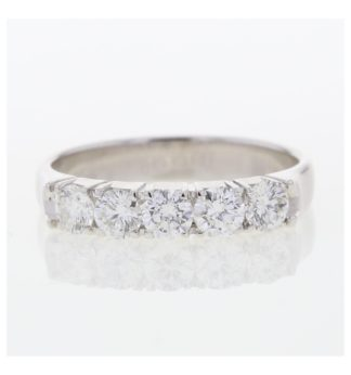 18ct white gold designer eternity ring set with 5 diamonds.