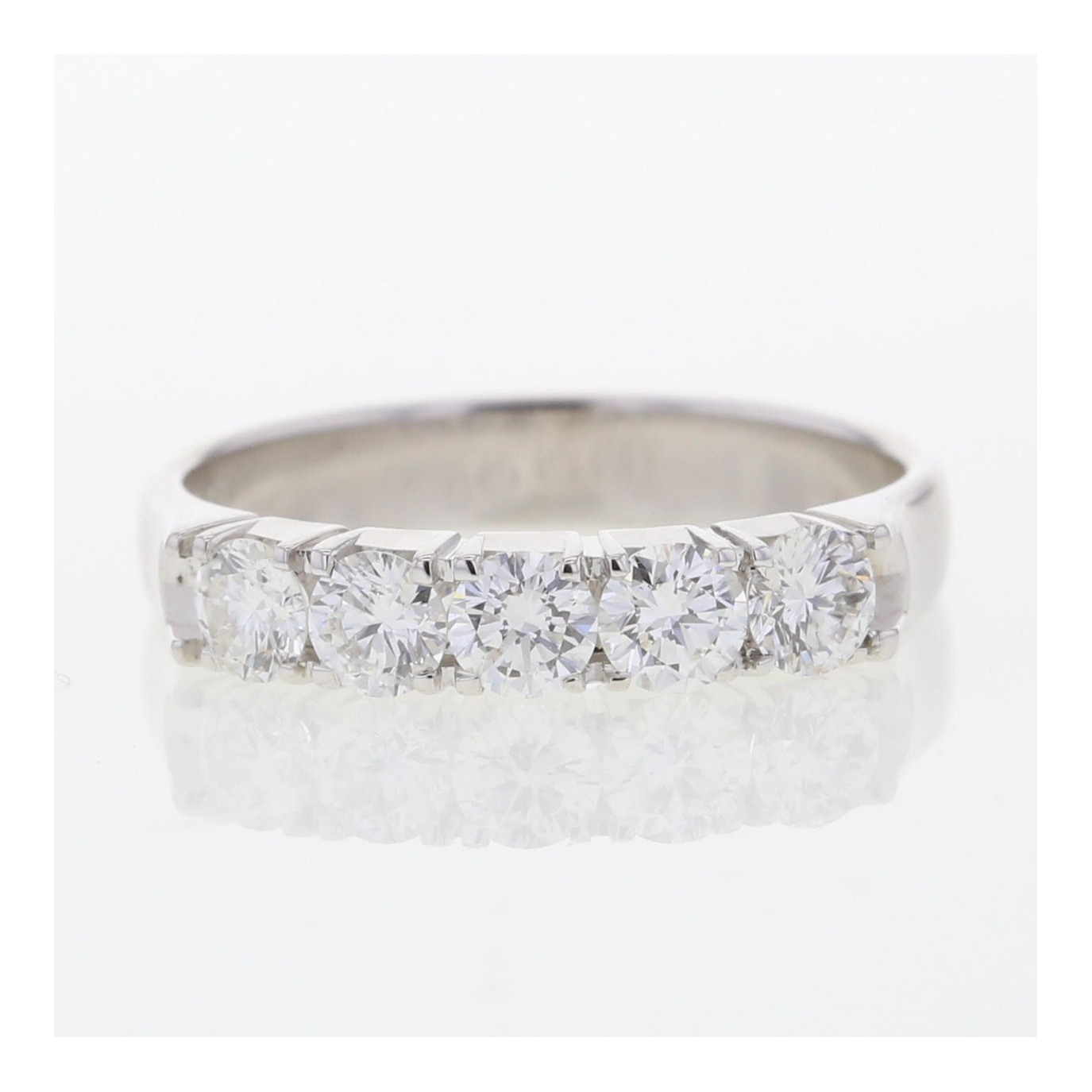 18ct white gold ring set with 5 diamonds.