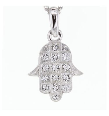 Rionore Jewellery Small Hamsa invisible set diamond pendant in white gold