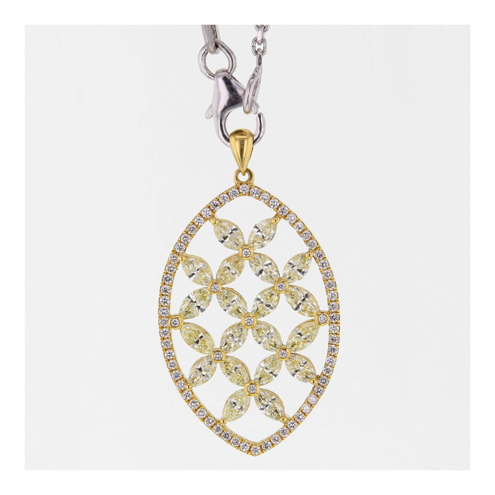 Yellow marquise diamond pendant in yellow gold