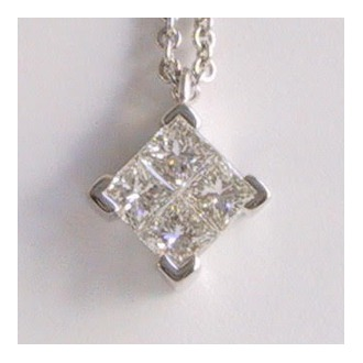 Rionore Jewellery Princess Cut Diamond pendant in white gold