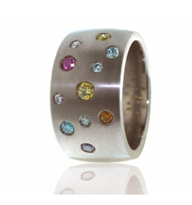 Rionore Designer Titanium and diamond ring with coloured stones
