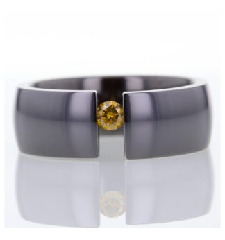 Rionore Cognac Diamond titanium tension set ring