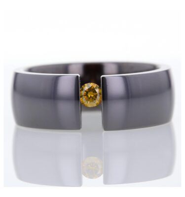 Cognac Diamond titanium tension set ring