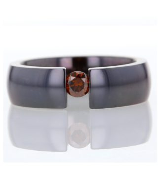 Dark orange diamond titanium tension set designer ring by Rionore