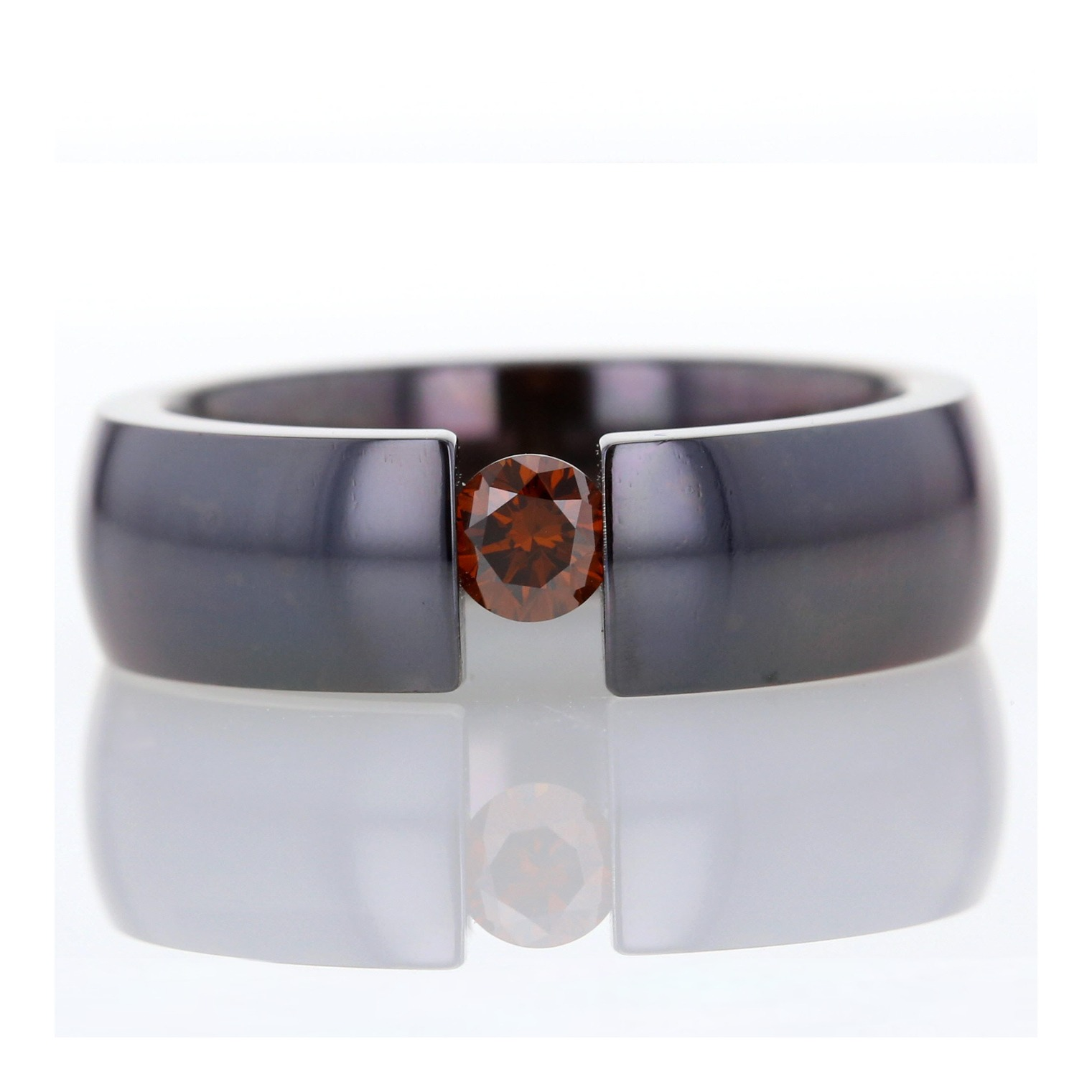 Dark orange diamond titanium tension set ring