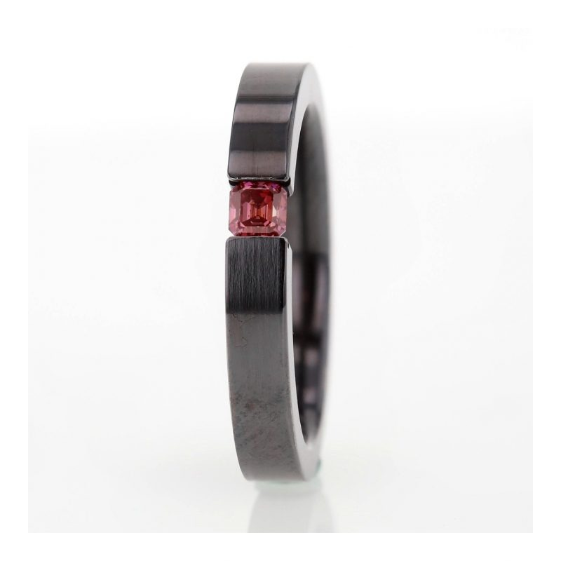 Rionore Designer Pink diamond titanium tension set ring