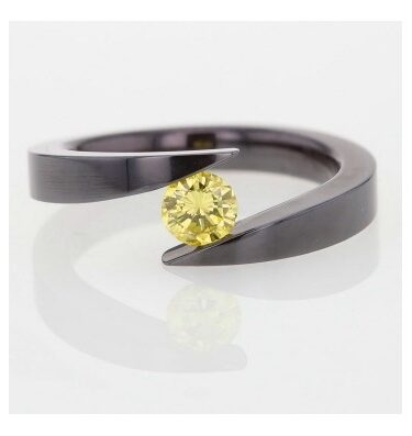 Rionore Designer Vibrant yellow diamond titanium tension set ring