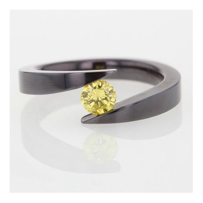 Vibrant yellow diamond titanium tension set ring
