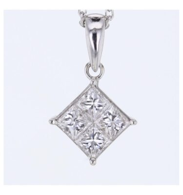 SQUARE PRINCESS Invisible set diamond PENDANT