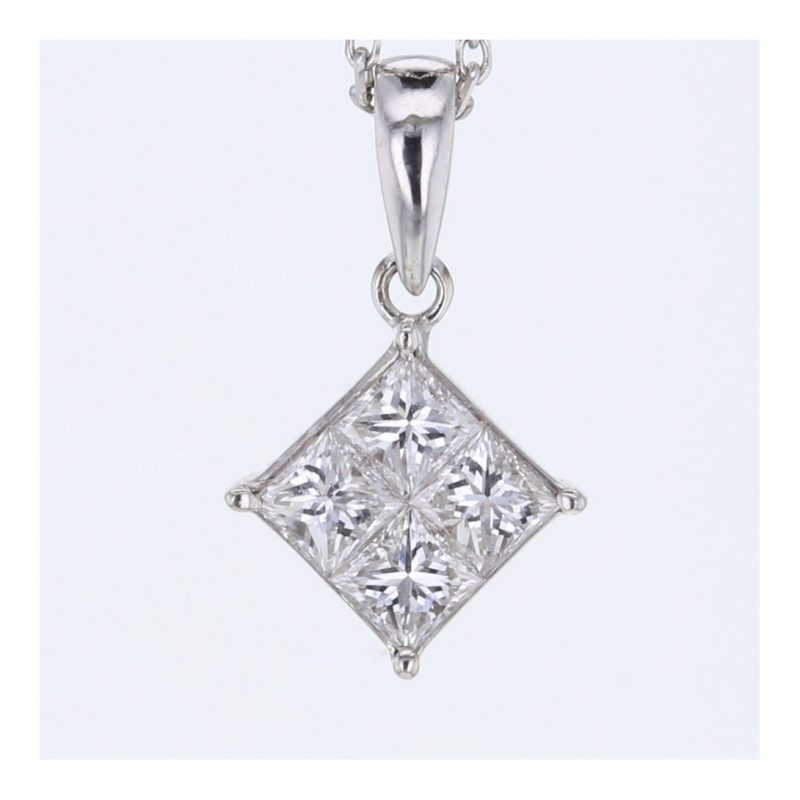 Rionore Jewellery Square Princess Invisible set diamond Pendant in 18ct white gold