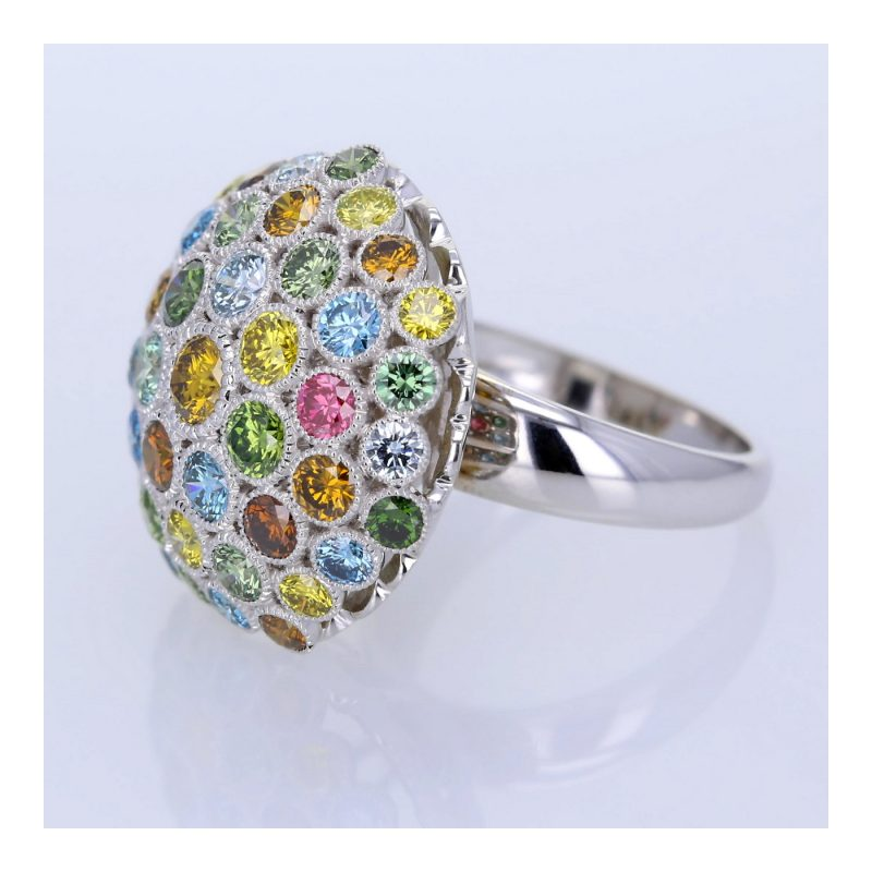 Rionore 18ct White gold diamond ring with coloured stones.