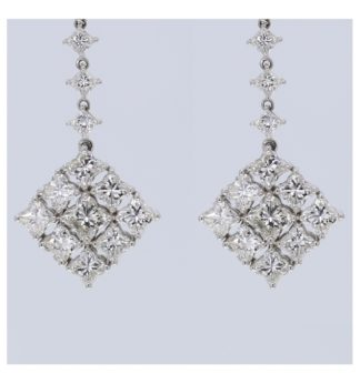 Rionore 6ct diamond luxury 18ct white gold earrings