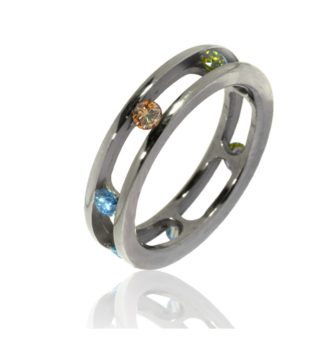 Rionore titanium ring featuring multiple coloured diamonds