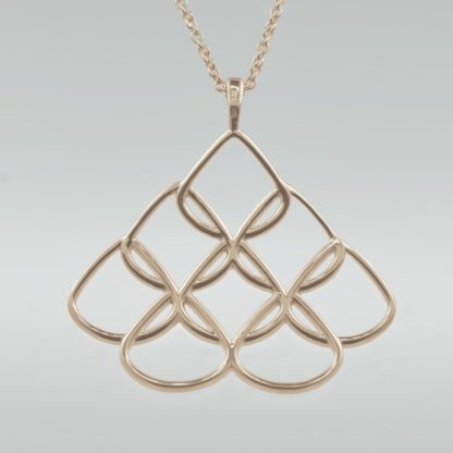 Rionre Large Designer Signature Pendant in rose gold plate with rose gold chain