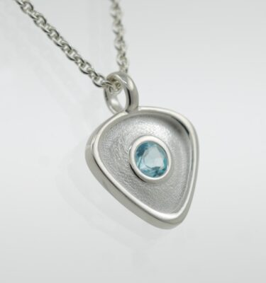 Rionore Sterling Silver blue topaz designer gemstone pendant necklace