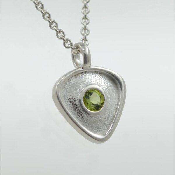 Rionore Sterling Silver peridot designer gemstone pendant necklace