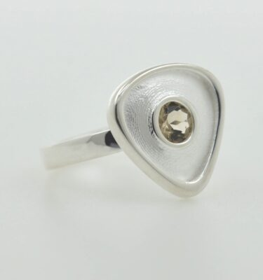 Sterling silver smoky quartz gemstone ring