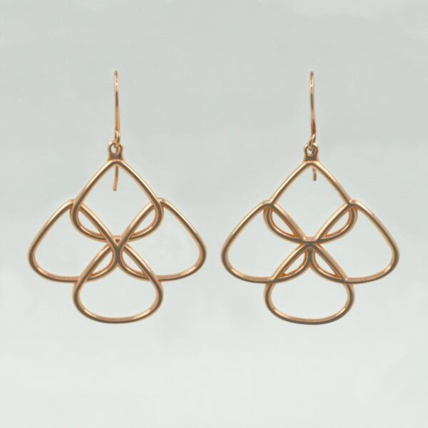 Rionore rose gold plated hanging chandelier earrings